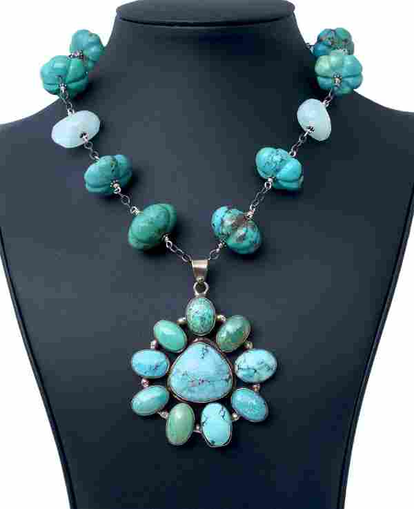 TURQUOISE NECKLACE WITH AQUAMARINE IN SILVER
