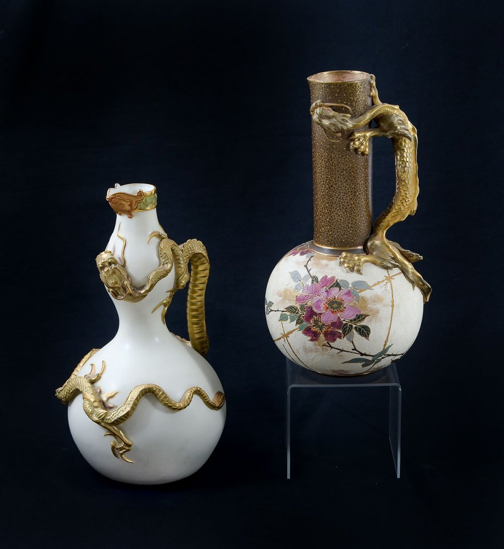 2 PC. DOULTON  & ROYAL WORCESTER DRAGOMWARE PITCHERS