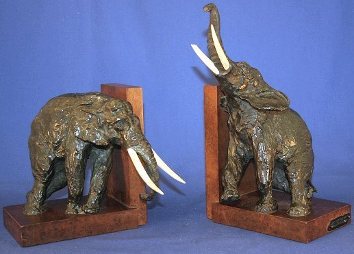 5: IMPORTANT ARY BITTER BRONZE ELEPHANT BOOKENDS