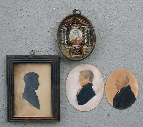 10: LOT OF MINIATURE PAINTINGS AND SILHOUETTE