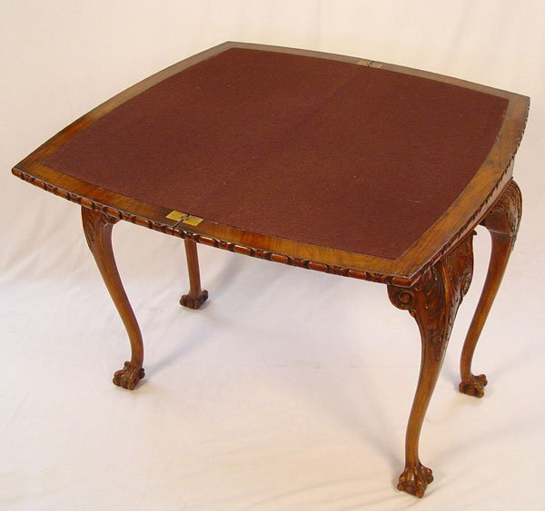 17: 19TH C ENGLISH MAHOGANY CHIPPENDALE GAME TABLE