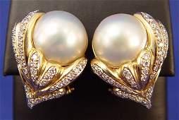 81 150CTW DIAMOND 16MM MABE PEARL EARRINGS 14K 23GR