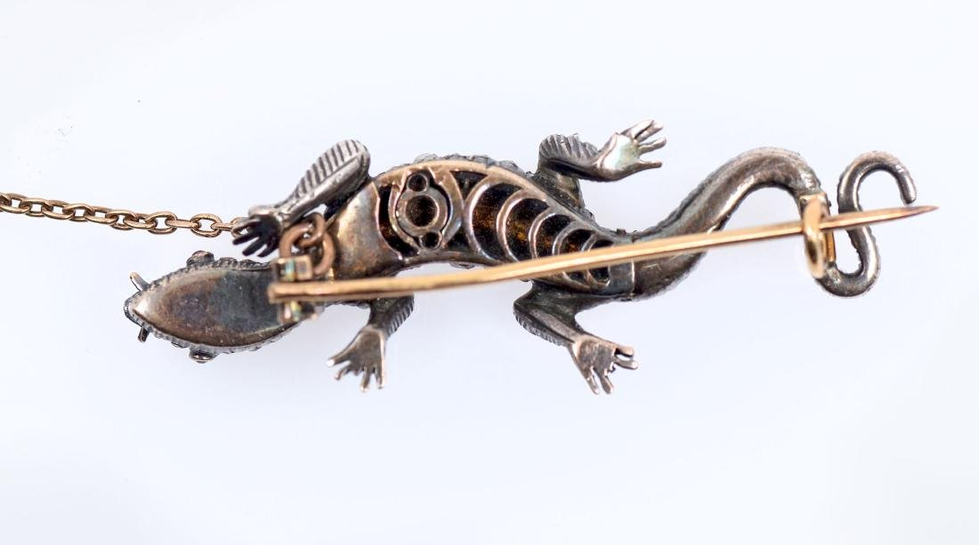 14K & SILVER VICTORIAN AND GEMSTONE SALAMANDER PIN - 2