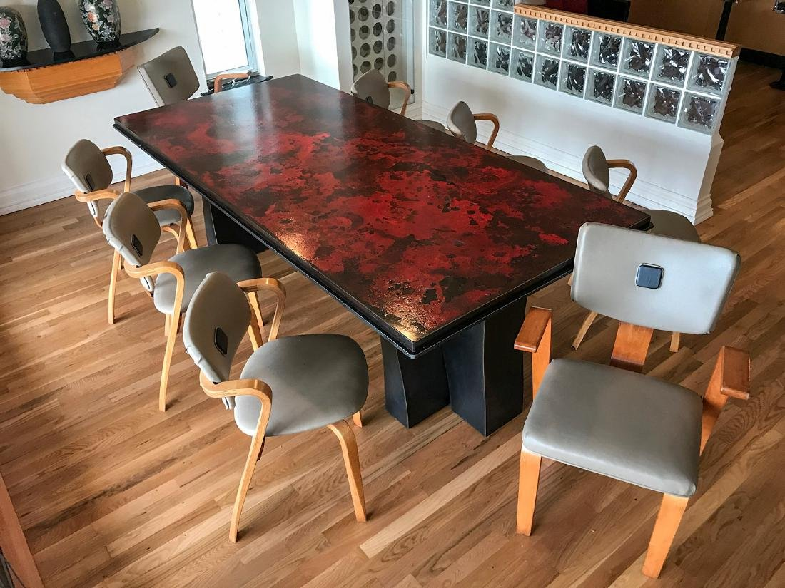 LARGE MODERN MOTTLED STEEL DINING TABLE