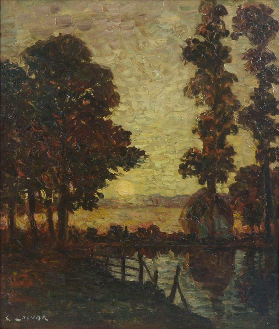 ILLEGIBLY SIGNED IMPRESSIONIST RIVERSIDE PAINTING