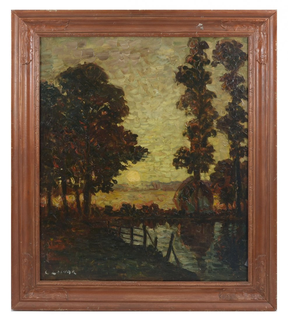 ILLEGIBLY SIGNED IMPRESSIONIST RIVERSIDE PAINTING - 2