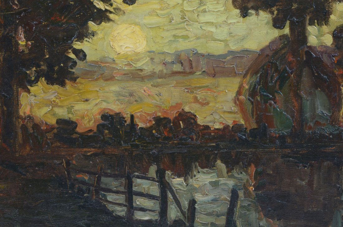 ILLEGIBLY SIGNED IMPRESSIONIST RIVERSIDE PAINTING - 4