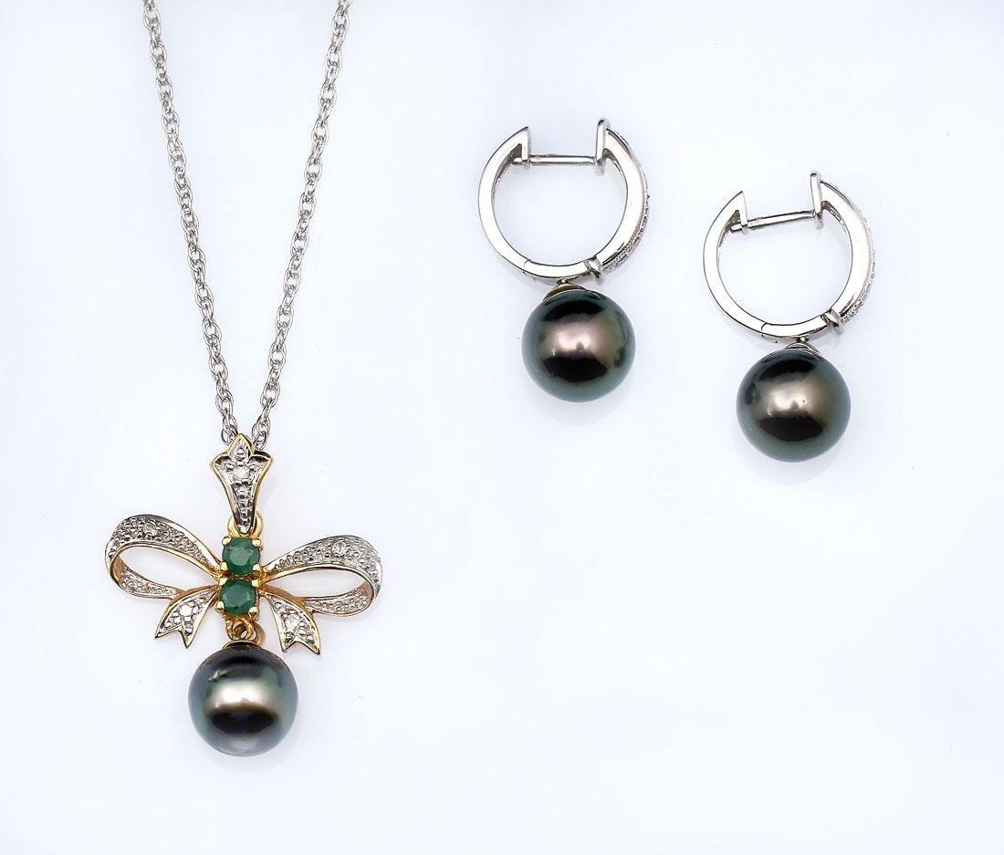 14K PEARL & DIAMOND NECKLACE/EARRINGS