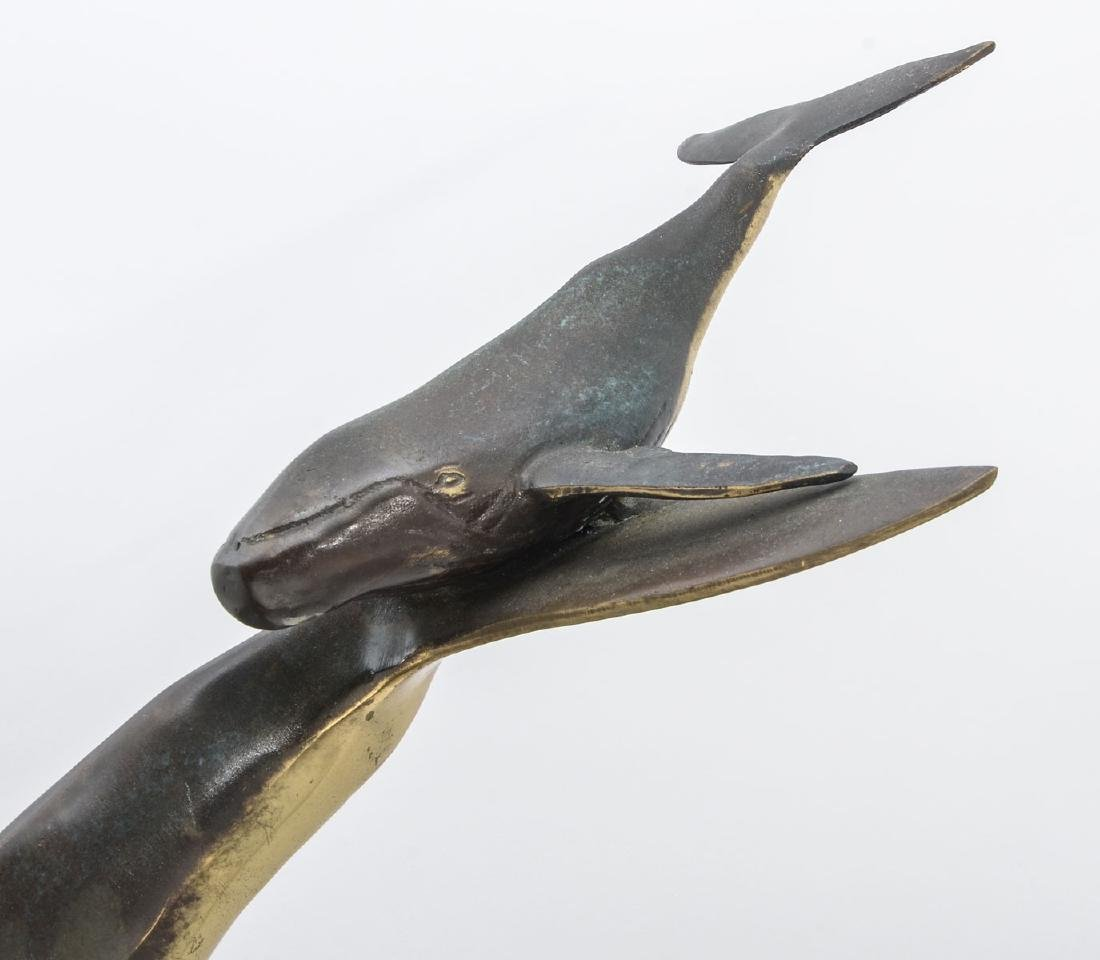 BRONZE WHALE AND CALF SCULPTURE - 3