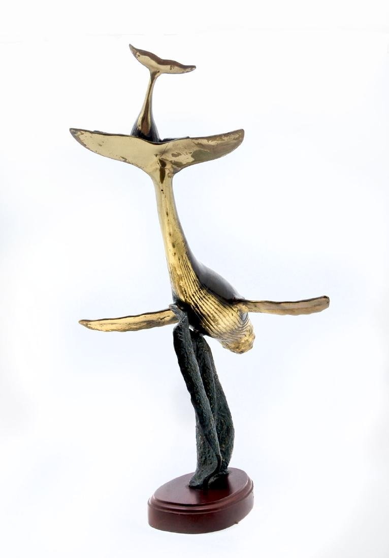 BRONZE WHALE AND CALF SCULPTURE - 4