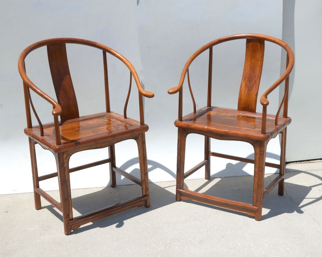 PAIR OF ANTIQUE CHINESE HORSESHOE ARM CHAIRS
