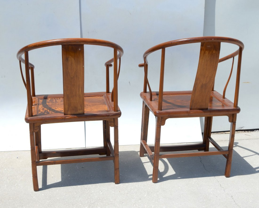 PAIR OF ANTIQUE CHINESE HORSESHOE ARM CHAIRS - 3