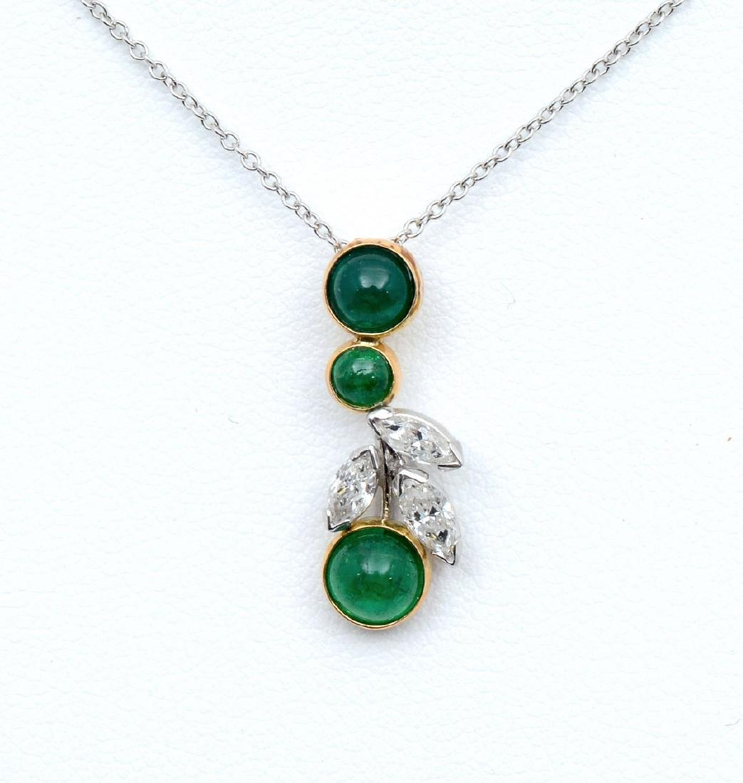 18K GOLD & PLATINUM PENDANT WITH DIAMONDS & EMERALD