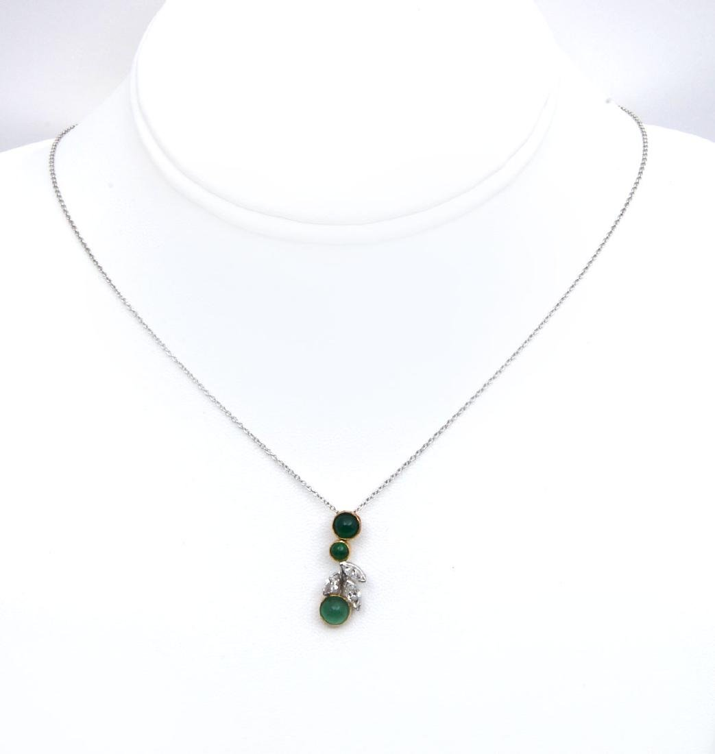 18K GOLD & PLATINUM PENDANT WITH DIAMONDS & EMERALD - 3
