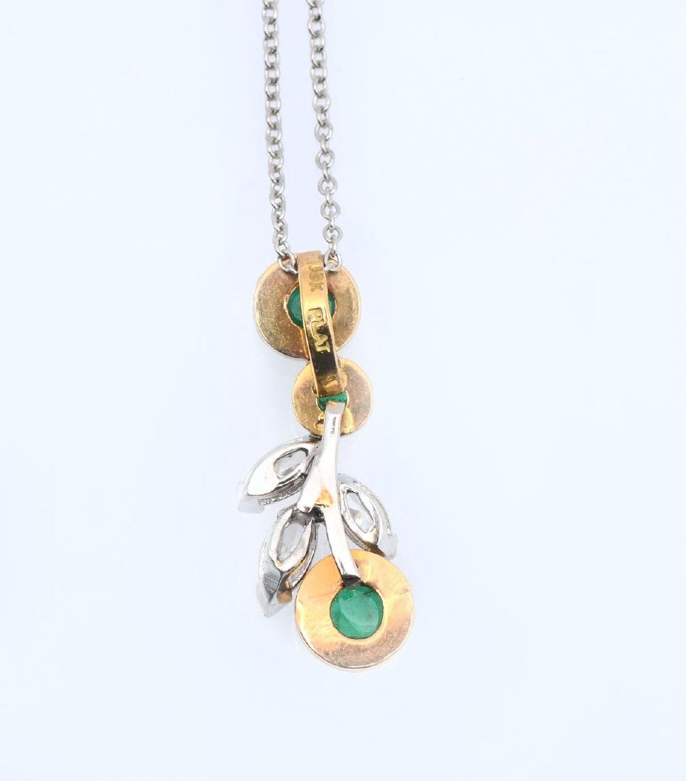 18K GOLD & PLATINUM PENDANT WITH DIAMONDS & EMERALD - 4