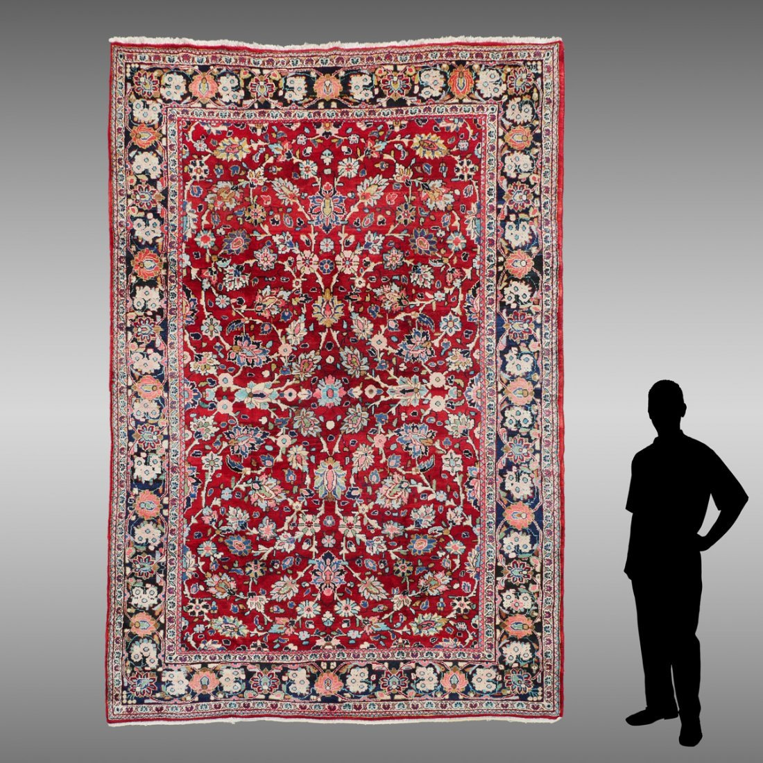 """INDO-PERSIAN SAROUK HAND KNOTTED WOOL RUG, 7.5"""" X 10'6"""""""
