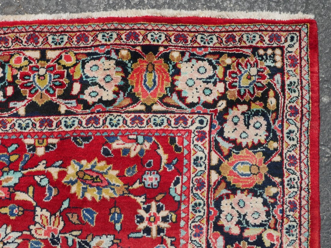 """INDO-PERSIAN SAROUK HAND KNOTTED WOOL RUG, 7.5"""" X 10'6"""" - 3"""