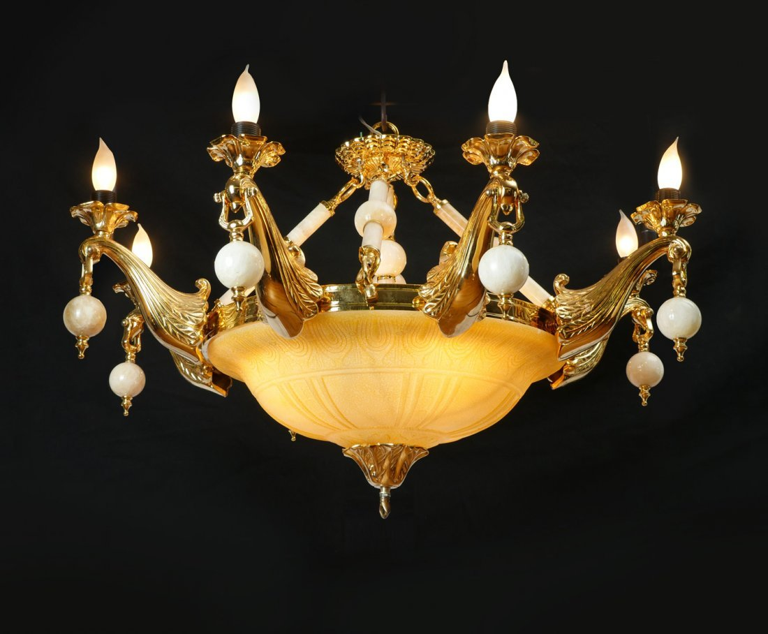 ALABASTER GLASS, MARBLE AND BRONZE CHANDELIER