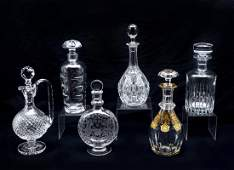 6 PC. BACCARAT & ORREFORS CRYSTAL DECANTERS