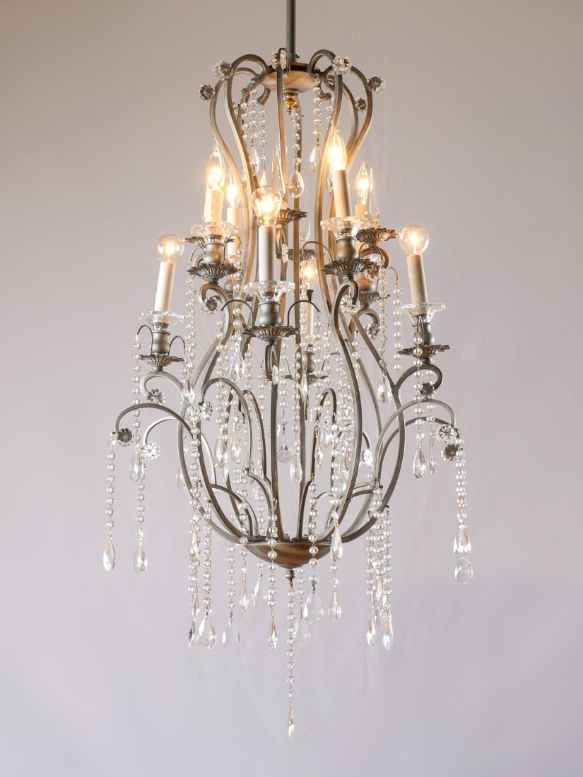 8-LIGHT WROUGHT IRON & CRYSTAL CHANDELIER