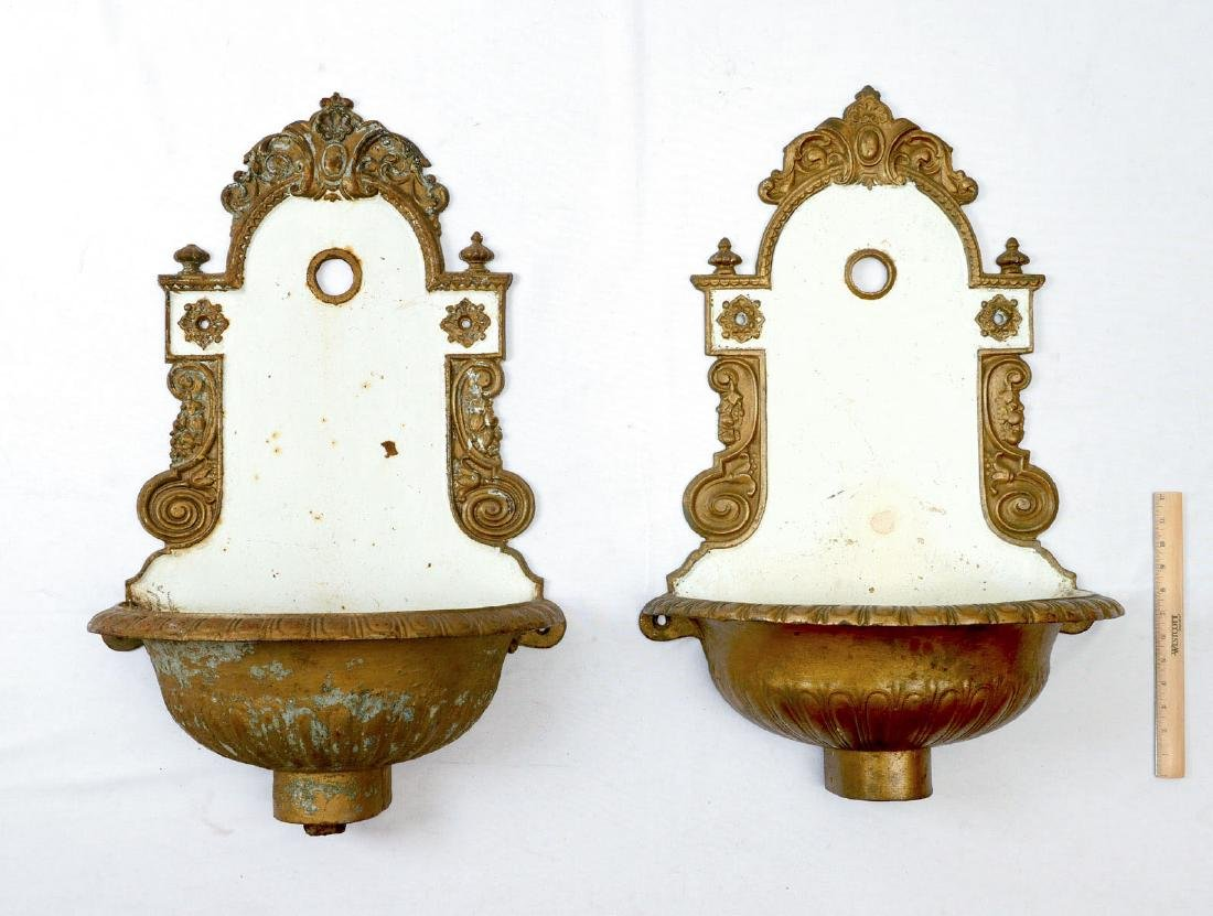 PAIR OF CAST IRON VICTORIAN LAVABOS