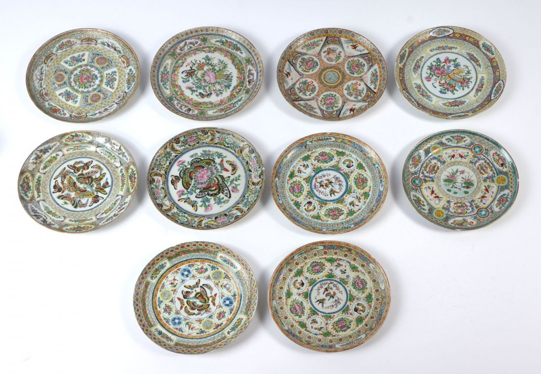 10 PC 19TH CENTURY SIGNED ROSE MEDALLION PLATES