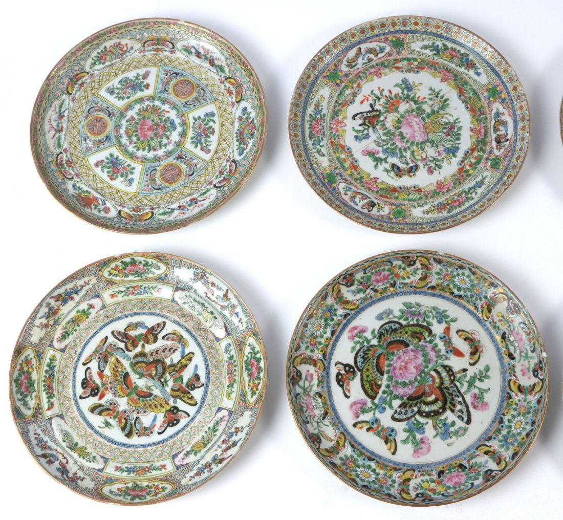 10 PC 19TH CENTURY SIGNED ROSE MEDALLION PLATES - 3