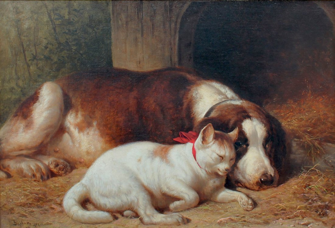 "HENRY COLLINS BISPHAM PAINTING  ""CLOSE FRIENDS"""
