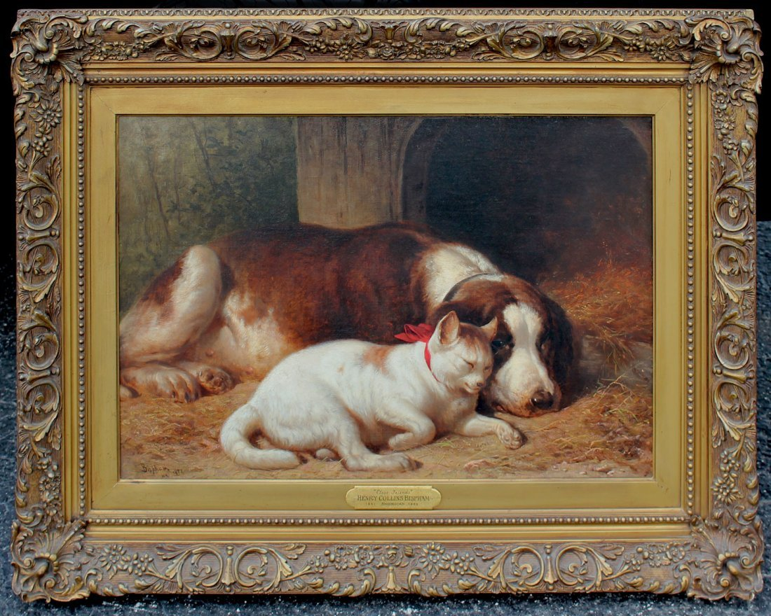 "HENRY COLLINS BISPHAM PAINTING  ""CLOSE FRIENDS"" - 2"
