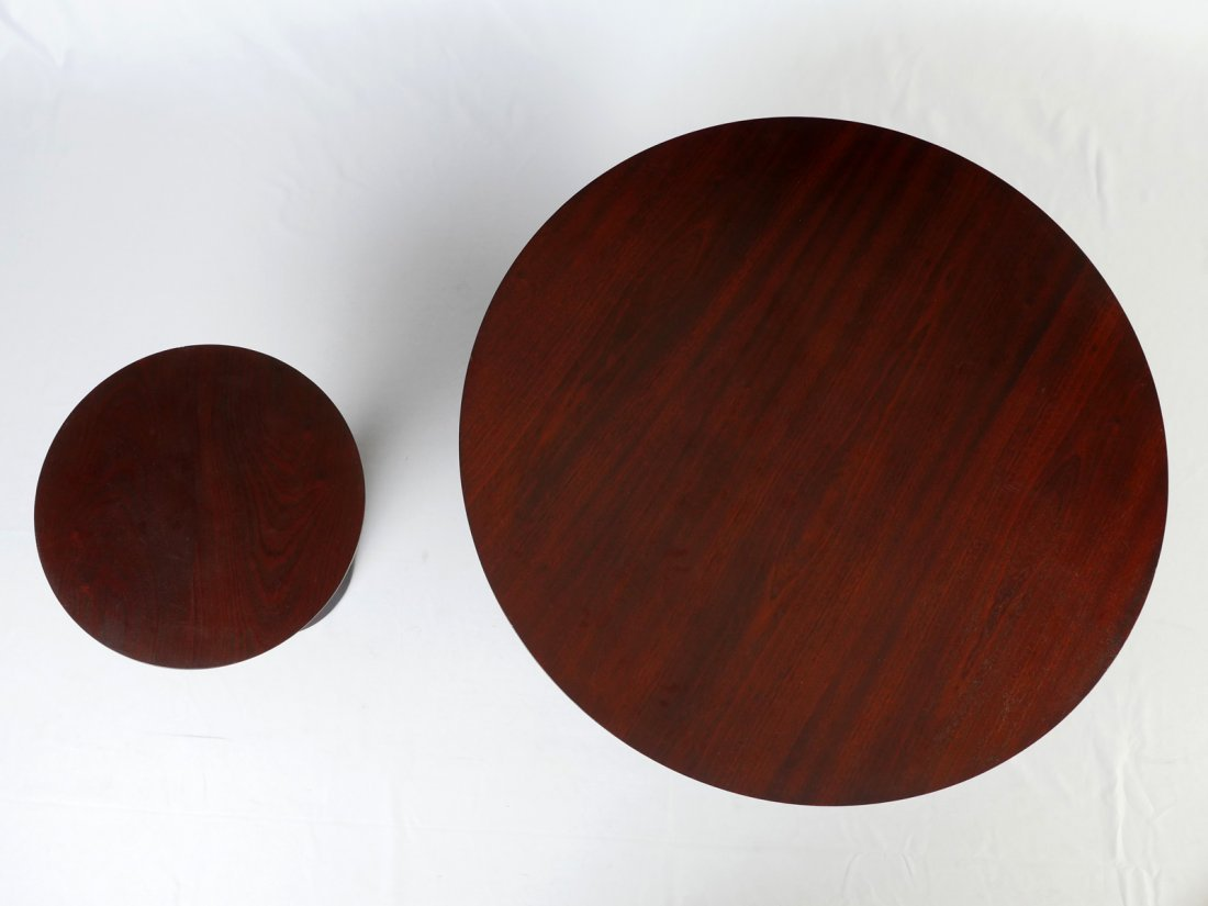 MODERN ROUND COCKTAIL TABLE & MATCHING LAMP TABLE - 4