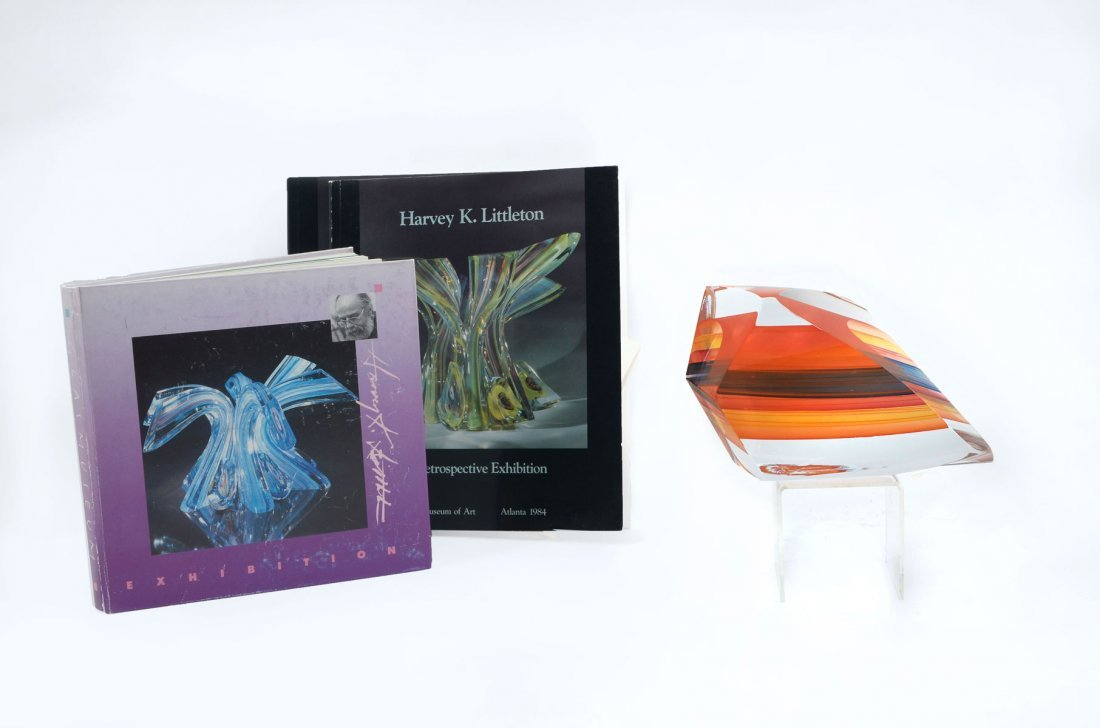 LITTLETON ABSTRACT GLASS SCULPTURE WITH BOOKS