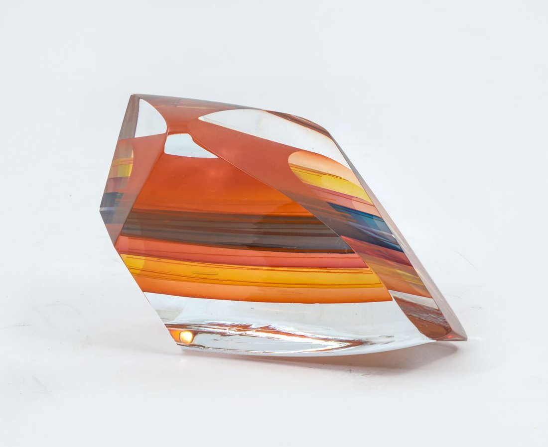 LITTLETON ABSTRACT GLASS SCULPTURE WITH BOOKS - 2