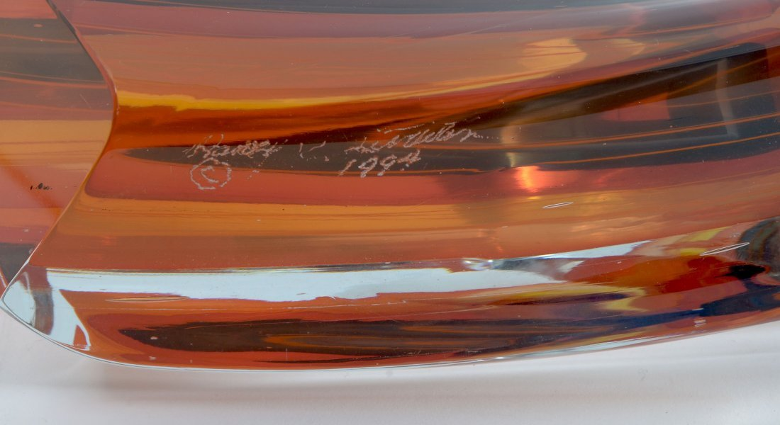 LITTLETON ABSTRACT GLASS SCULPTURE WITH BOOKS - 3