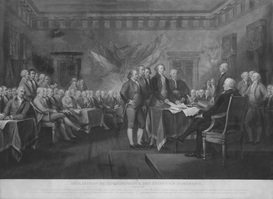 ENGRAVING OF SIGNING OF THE DECLARATION OF INDEPENDENCE