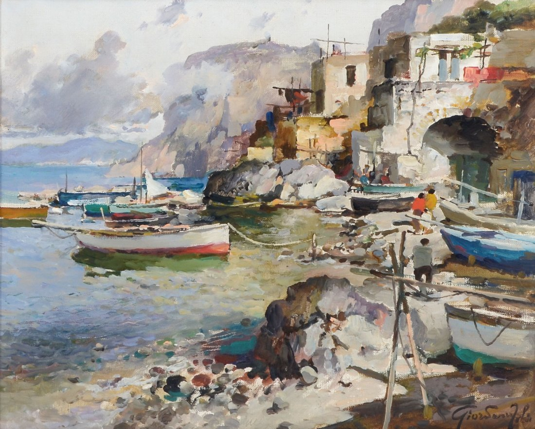 GIORDANO FELICE PAINTING ITALIAN FISHING VILLAGE
