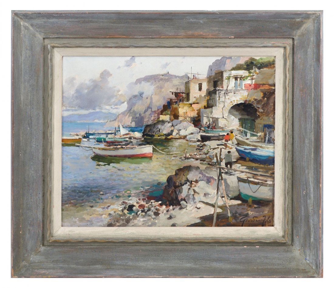 GIORDANO FELICE PAINTING ITALIAN FISHING VILLAGE - 2