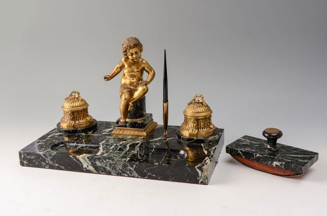 GILT BRONZE & MARBLE FIGURAL PUTTI DESK SET