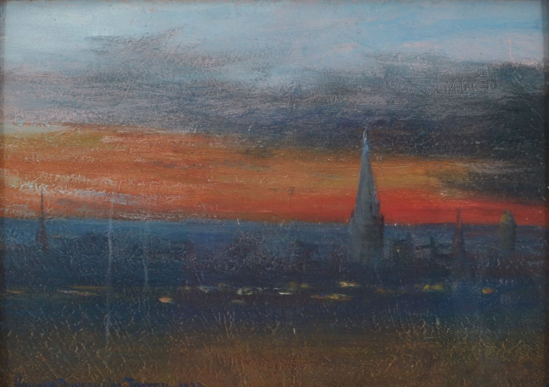 GEORGE BURROUGHS TORREY ROOFTOP SUNSET PAINTING
