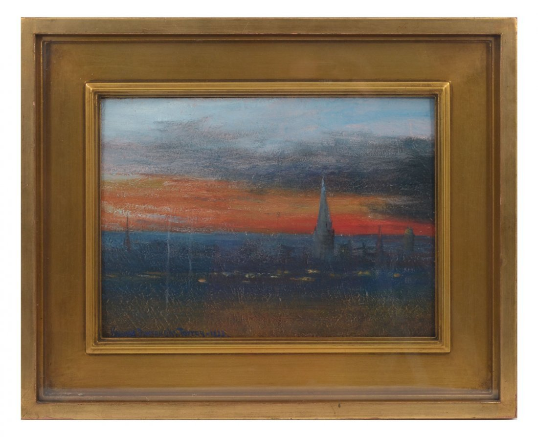 GEORGE BURROUGHS TORREY ROOFTOP SUNSET PAINTING - 2
