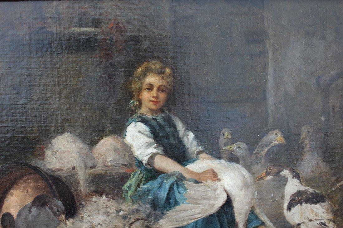 SALVADOR MEGE YOUNG GIRL PICKING A GOOSE - 3