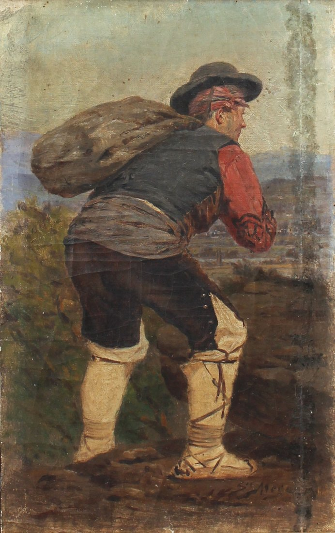 SALVADOR MEGE PAINTING OF PEASANT CARRYING A SACK