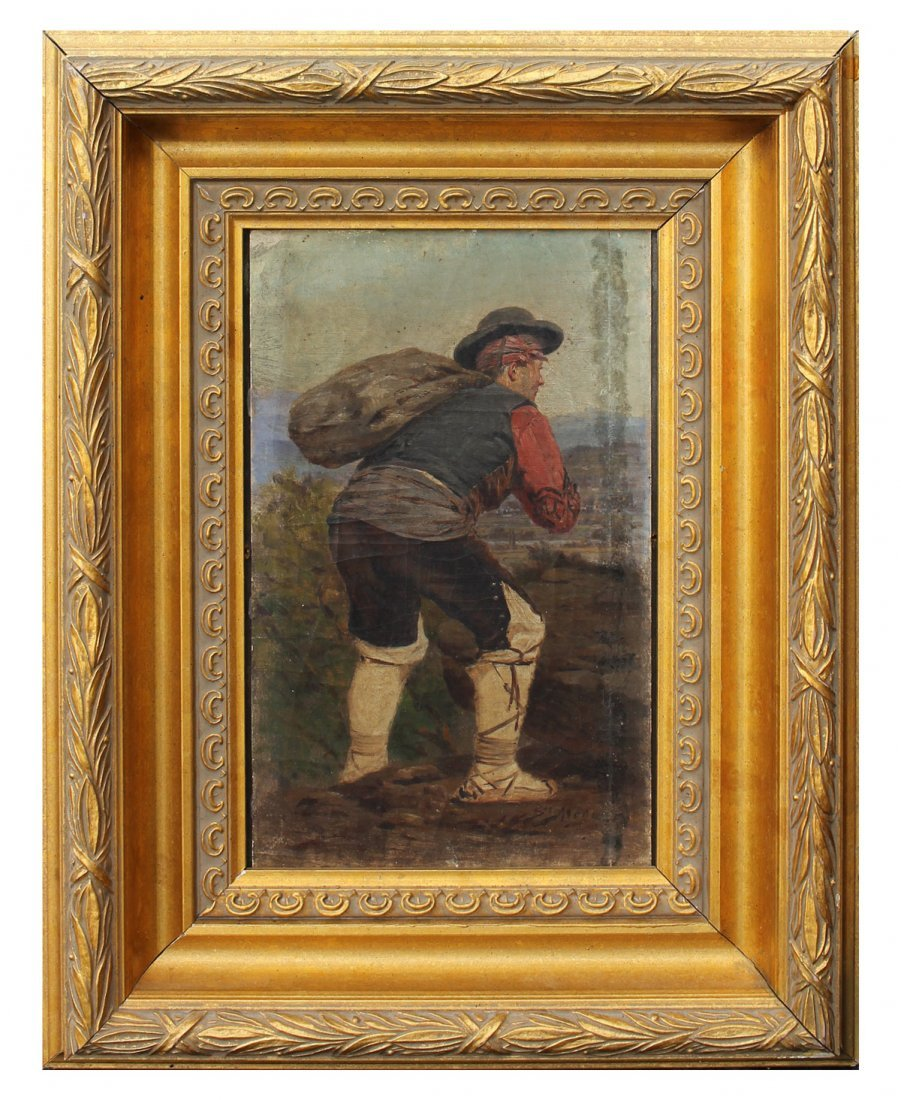 SALVADOR MEGE PAINTING OF PEASANT CARRYING A SACK - 2