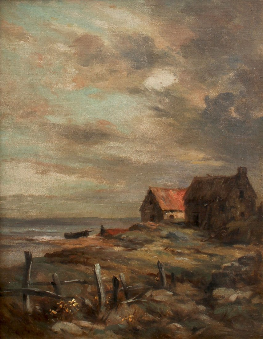 COTTAGES ON THE OCEAN PAINTING SIGNED CAZIN