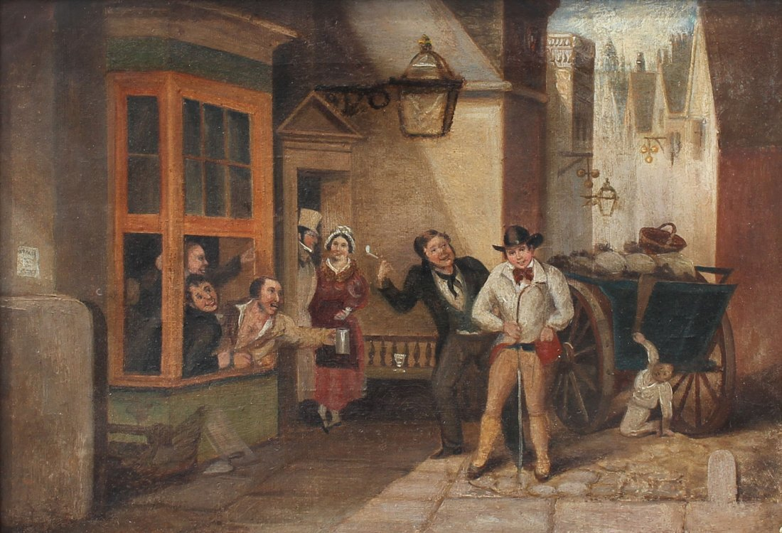 19TH CENTURY GENRE OUTSIDE OF A TAVERN