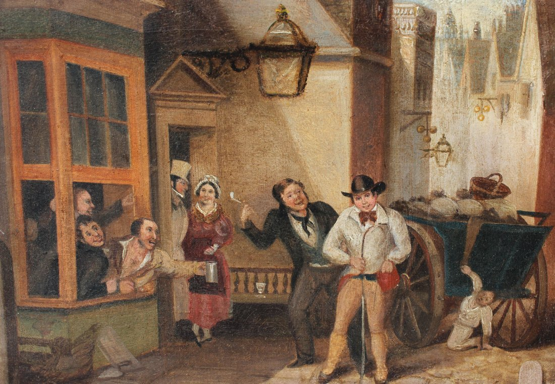 19TH CENTURY GENRE OUTSIDE OF A TAVERN - 3