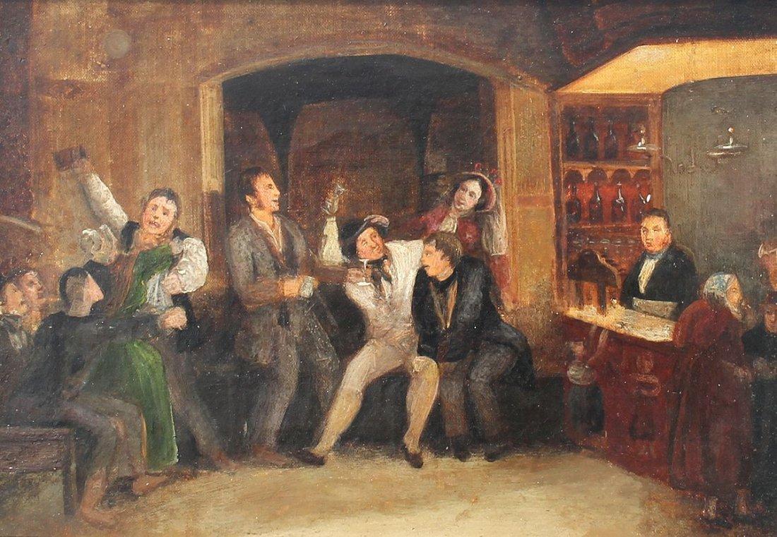 19TH CENTURY PAINTING OF AN INTERIOR TAVERN SCENE