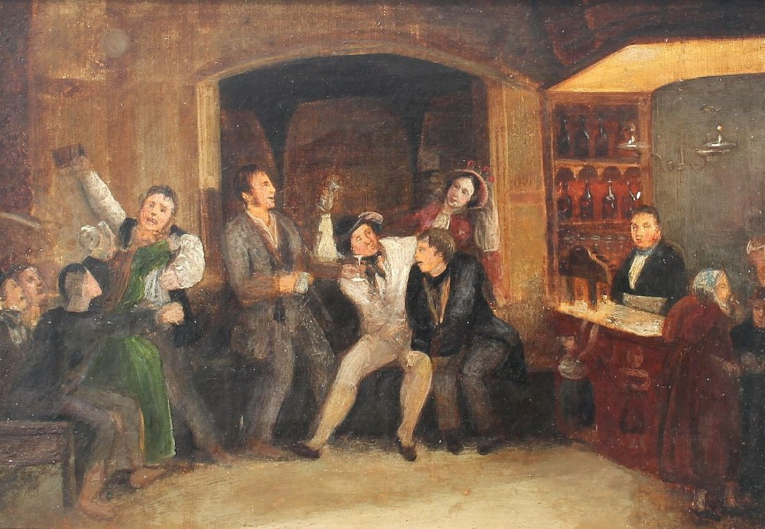 19TH CENTURY PAINTING OF AN INTERIOR TAVERN SCENE