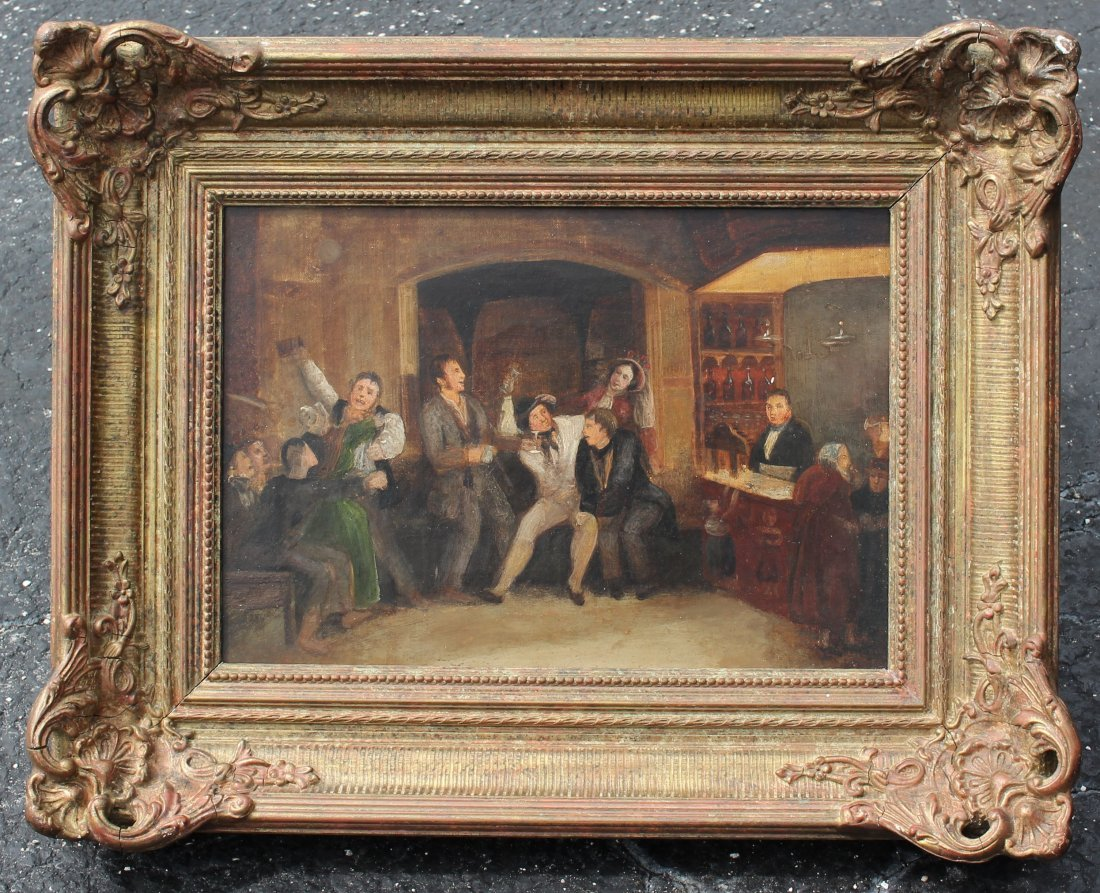 19TH CENTURY PAINTING OF AN INTERIOR TAVERN SCENE - 2