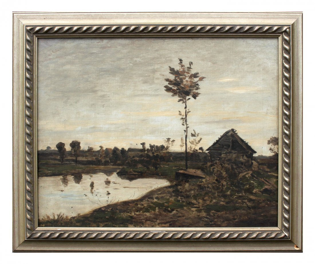 BARBAZON STYLE LANDSCAPE ATTRIBUTED TO HARPIGNIES - 2