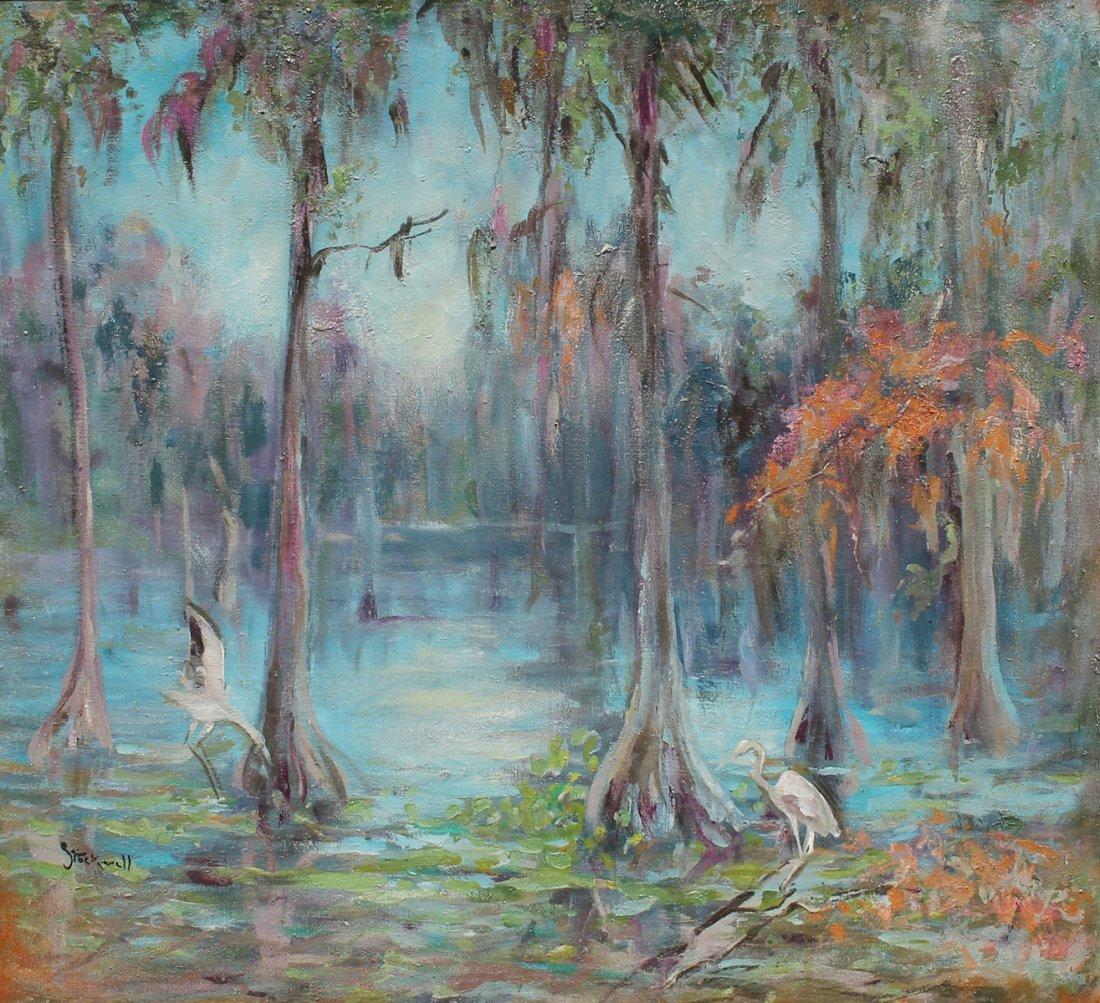 LARGE CATHERINE STOCKWELL FLORIDA SWAMP PAINTING
